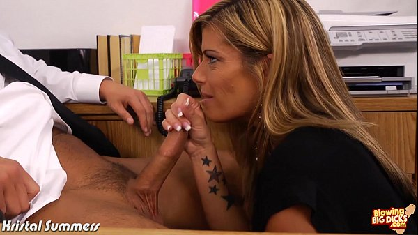 Busty blonde Kristal Summerr blowing a big dick