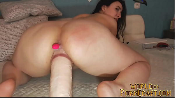 Sexy brunette stretches pussy with monster dildo