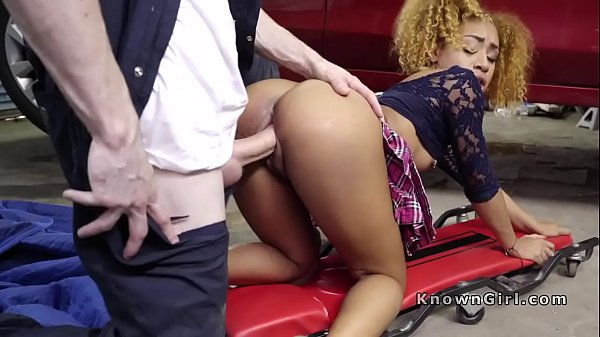 Ebony gf gives blowjob to mechanic in his shop