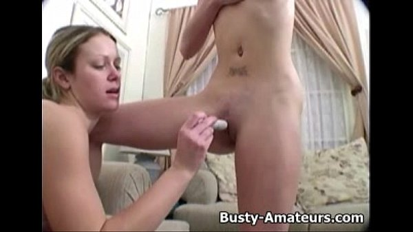 Busty Lesbians Sunny and Holly on dildo playing