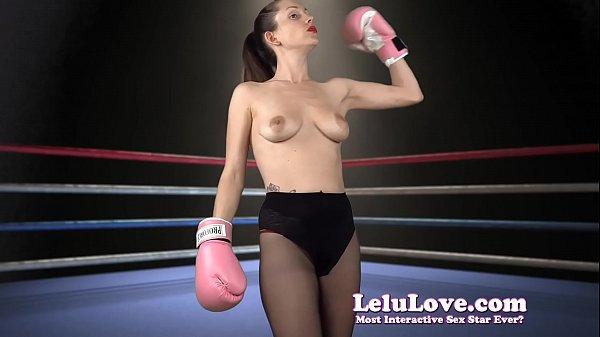 Topless female boxer struts & flexes in high heels & pantyhose - Lelu Love