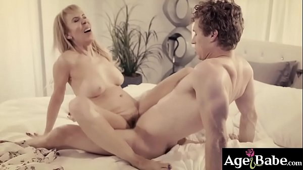 Pervy mature woman loves grinding her milf pussy on top of a massive young cock