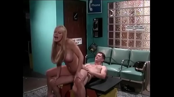 Smart guy made nice with stunning blonde bombshell Melissa West with Tourette's syndrome complicated coprophrasia in the waiting room of hospital