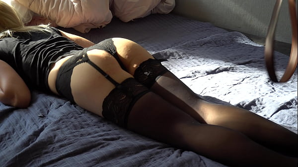 Girlfriend in sexy stockings spanked with a belt Thumb