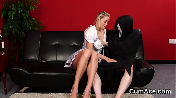 Foxy doll gets cumshot on her face eating all the sperm
