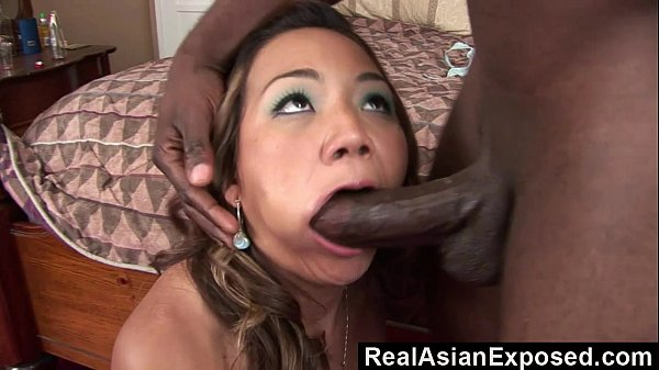 RealAsianExposed - Asian Cutie Keeani Lei Gags On Massive Black Cock