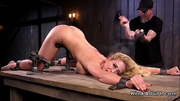 Stunning busty slave whipped and toyed