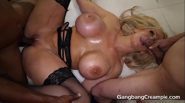 Huge busty blonde fucks 5.. guys
