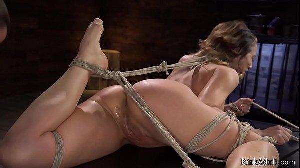 Tied hogtied Milf fucked with dildo
