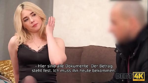 DEBT4k. Faszinierende Blondine mit lockigem Haar von Schulden gefickt Thumb