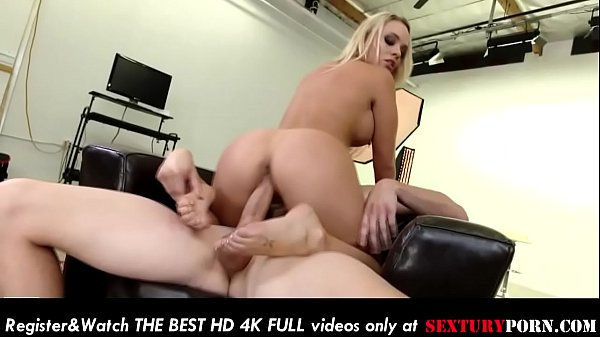 Sweet busty big ass blonde rides a big hard cock on the couch