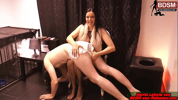 German domina make a business man as slave and get him in diapers Thumb