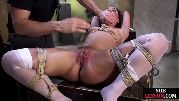 Bound lingerie sub pussy slapped and fingered before fucked
