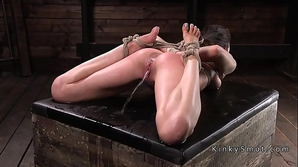 Brunette in hogtie made to squirt Thumb