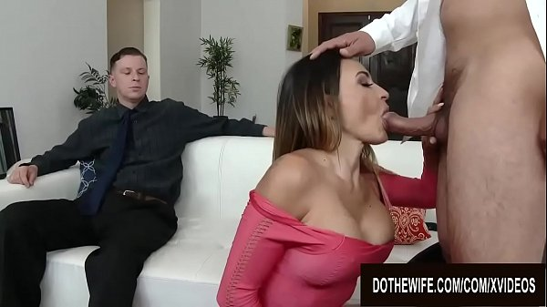 Pounding Busty Wife Claudia Valentine Right Next to Her Cuckold Hubby Thumb