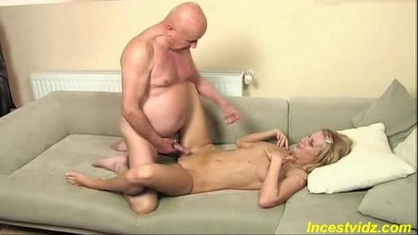 Old father fucks beauty blonde daughter on bed
