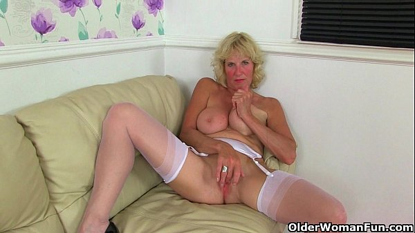 British milfs Molly and Clare in stockings with suspenders Thumb