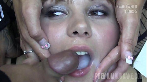 Premium Bukkake - Michelle swallows 74 huge mouthful cumshots