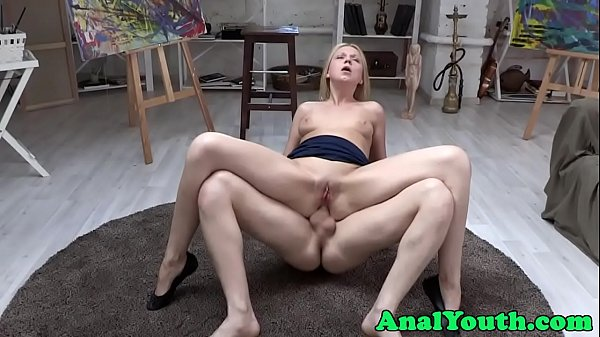Teen babe assfucked in reverse cowgirl