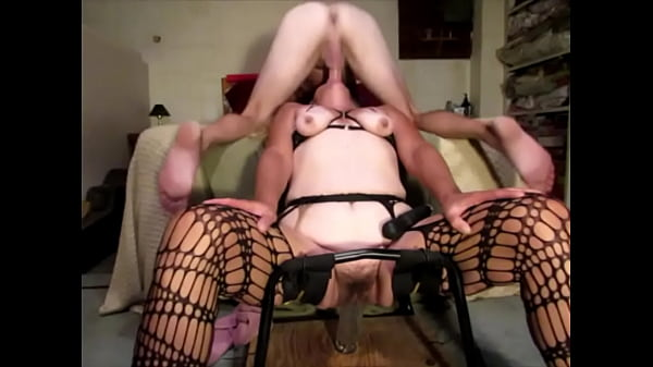 Wife rides big dildo while I fuck her throat