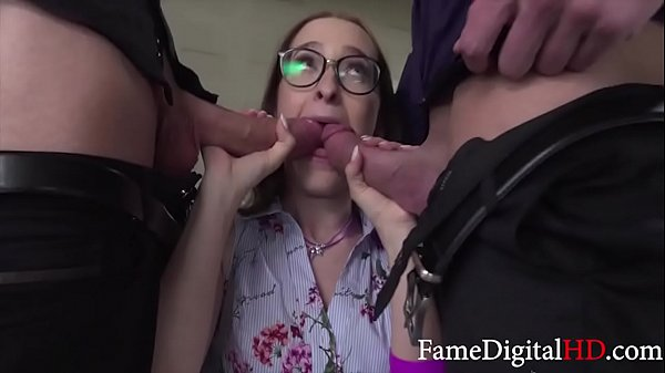Bosses Rob Nerd Secretary's Virginity Thumb