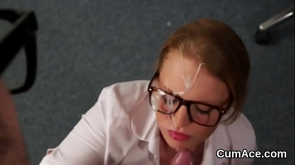 Foxy model gets jizz shot on her face sucking all the spunk