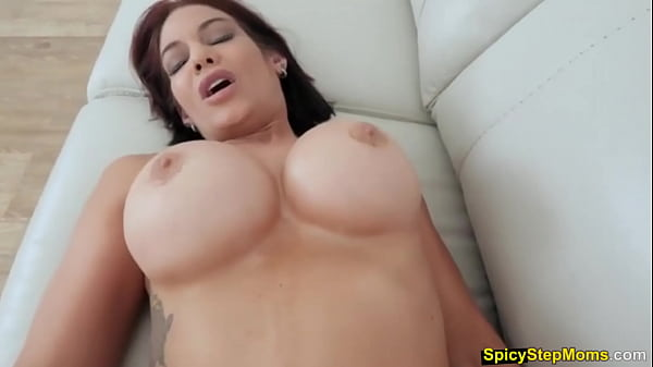 Blowjob practice POV style with hot busty stepmother
