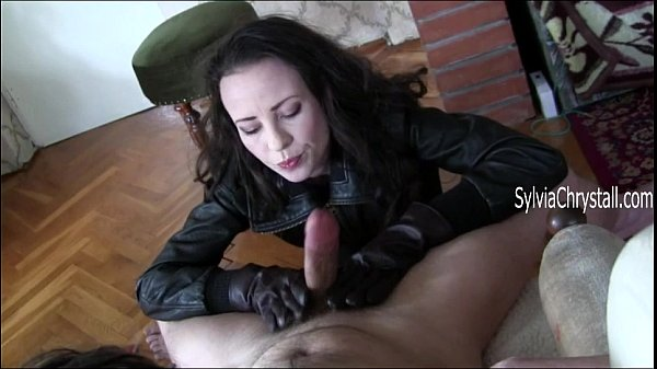 Blowjob leather in coat gloves and cum and slow eating think, what