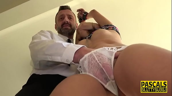 Bound sub gets whipped and pounded