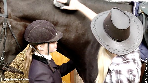 Aneta and Mya go down on each other at the hors...