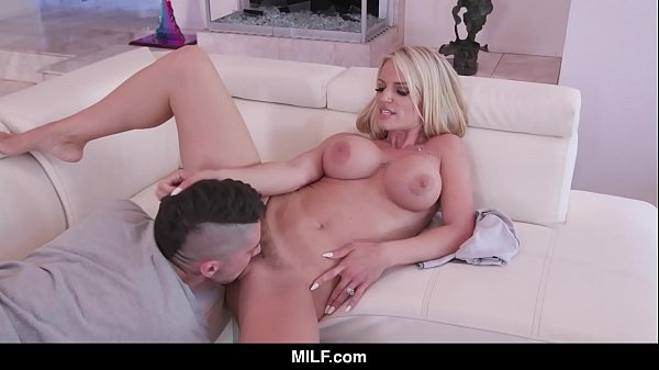MILF - Hot Stepmom Helps Out Distracted Stepson With Her Mouth And Pussy