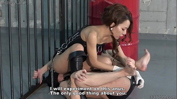 Masked Japanese Slave gets pulled on his nipples and anal dildo by dominatrix Thumb