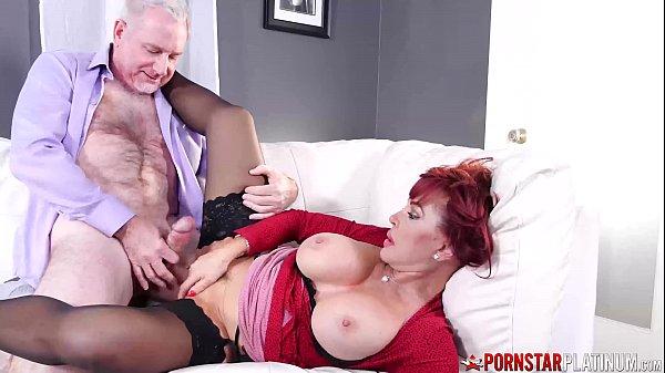 PORNSTARPLATINUM Redhead Sexy Vanessa Smashed By Old Big Cock