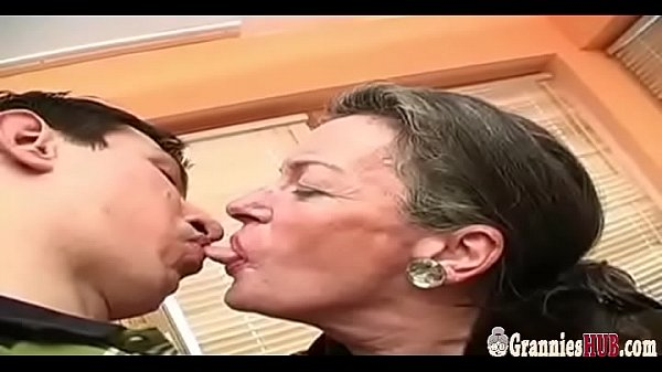 Big Young Cock For Saggy Tits Grandma With Extremely Hairy Pussy