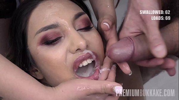 Premium Bukkake - Roxy Lips swallows 105 huge mouthful cum loads