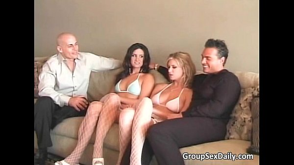 Foursome group sex with two hot sweet