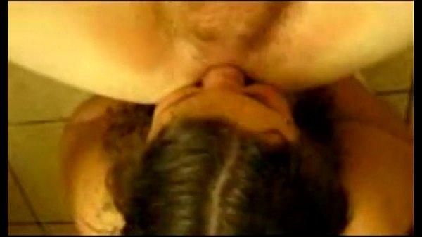 Dirty bathroom fun with ass licking slut
