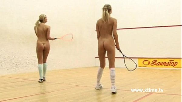 Young lesbians tennis players, playing with racket and pussy Thumb