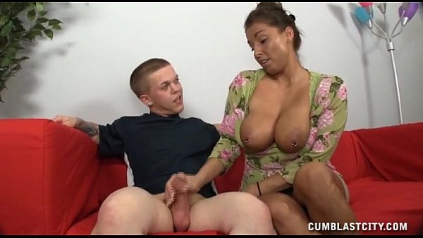 A Busty Milf Get Cumblasted Jerking A Short Guy