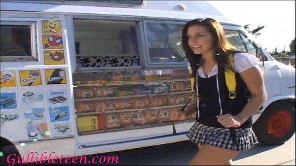 icecream truck super cute teen on roller skates shares icecream mans cock with schoolgirl friend