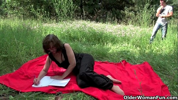 The great outdoors wets grandma's appetite for cock and cum Thumb