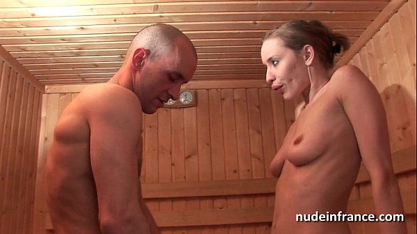 Horny blonde hard anal fucked while getting her pussy shaved in a sauna