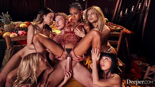 Deeper. Mona leads the ultimate 5-girl reverse gangbang