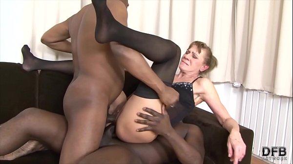 Granny anal fucked in hardcore interracial thre...