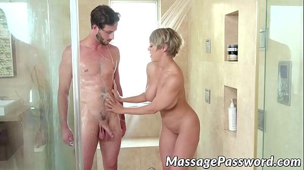 Naughty MILF seduces stepson into erotic Nuru and hot sex