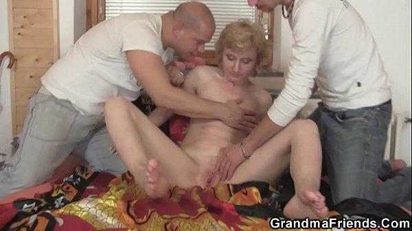 Old skinny blonde woman