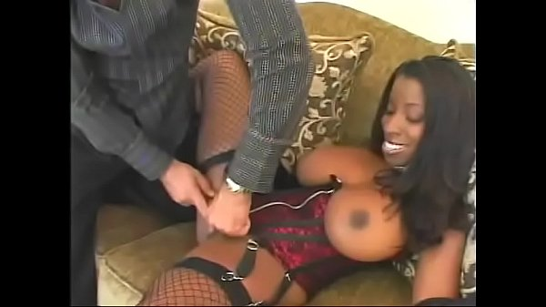 Sexy black slut with giant boobs Vanessa Blue rides massive white dick by her asshole Thumb