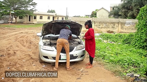 Busty ebony pays the mechanic with great sex