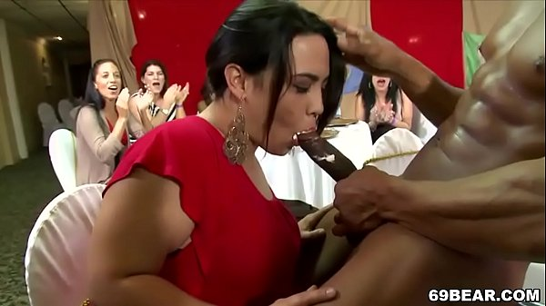Crazy women suck male strippers at CFNM party
