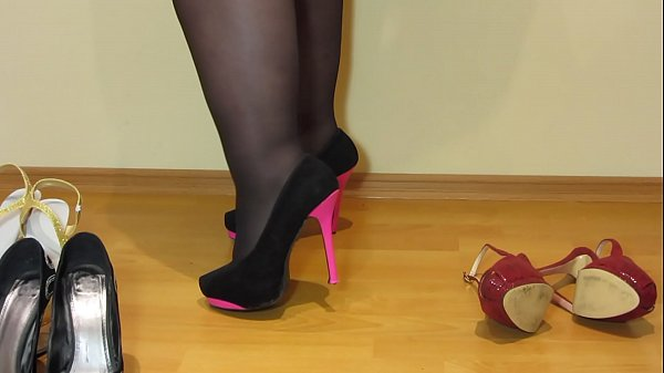 Foot fetish from beautiful bbw, cream on the feet and puffy legs in stockings in sexy high-heeled shoes